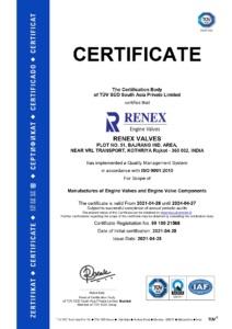 RENEX VALVE ISO TUV SUD 9001:2015 Certificate